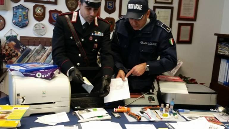 Ciampino. Carabinieri e Polizia Locale scoprono tipografia di falsari dediti alla stampa di carte di identità, patenti, passaporti e assicurazioni auto.
