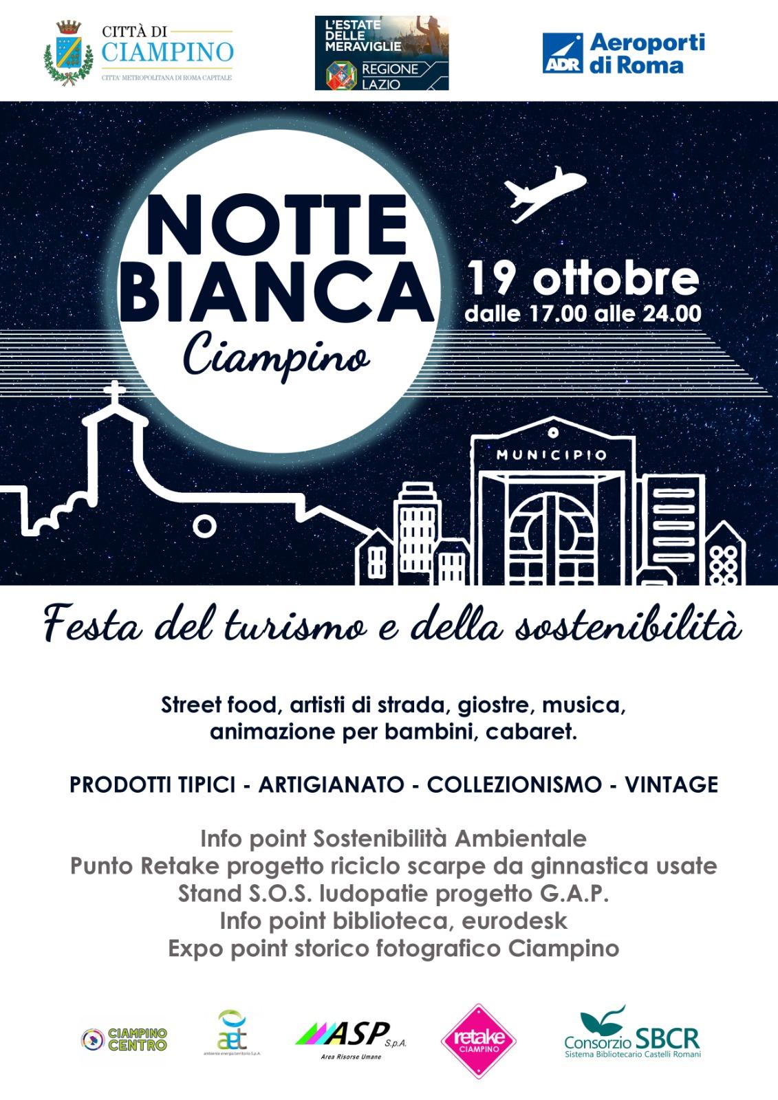 """Sabato 19 ottobre 2019: la """"Notte Bianca"""" a Ciampino."""